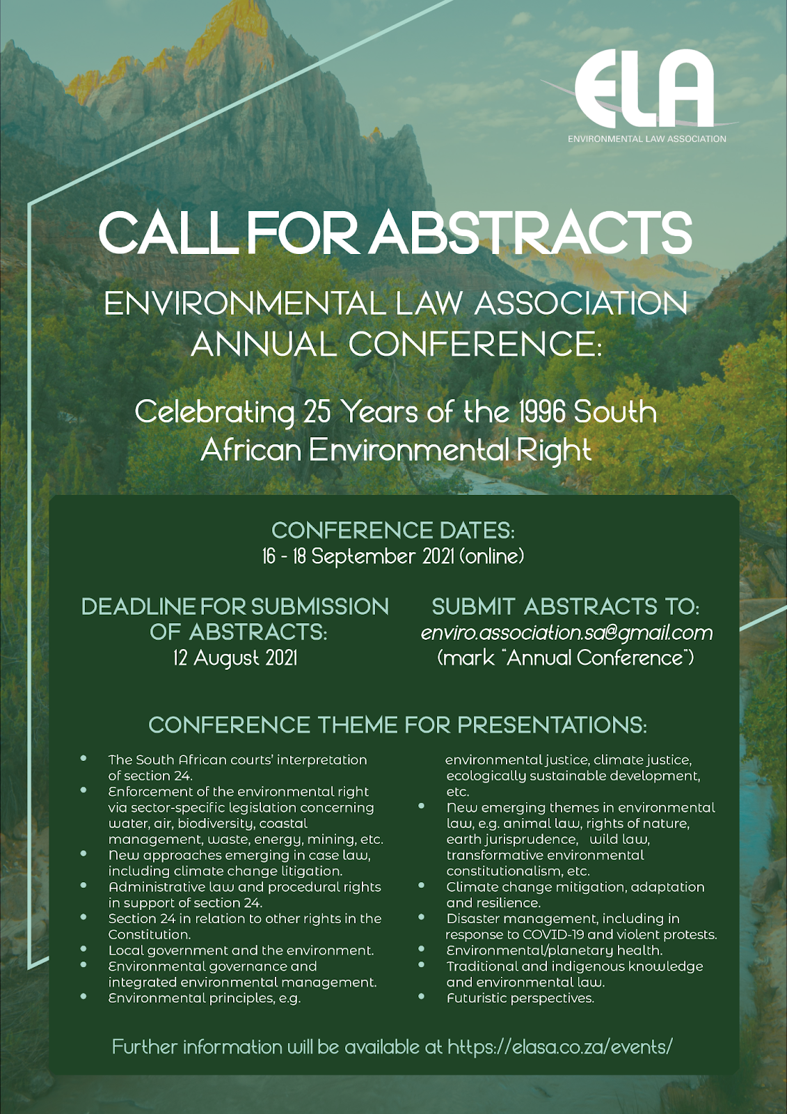 10th Annual Conference: Celebrating 25 Years of the 1996 South African Environmental Right